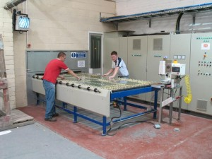 Loading glass to be toughened